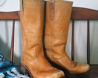 Vintage Frye Boots • Vintage Frye Campus Boots • 1960s / Early 1970s | Tan - Size 11 or 12 Mens