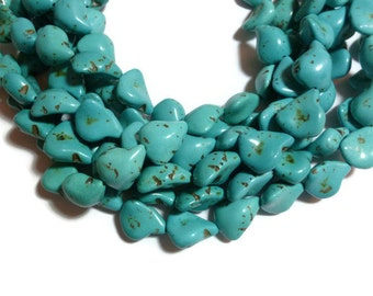 Turquoise Magnesite - Large Nugget Bead - 18 beads - Full Strand - Freeform Blue Irregular
