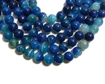 Blue Agate - 14mm Round Bead - Striped or Banded - Full Strand or Half Strand - Blueberry Stone - 14 or 28 beads