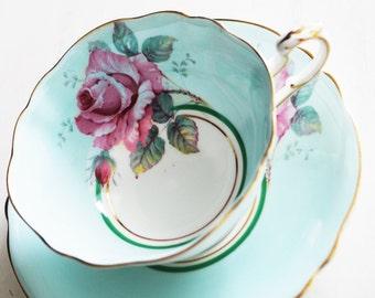 Paragon Teacup and Saucer / Aqua Blue with Pink Rose / Vintage Tea Cup