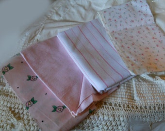Vintage Pink Fabric For Sewing And Quilting Sewing Supplies 4 Piecesof Pink Fabrics Pink Rosebuds Pink Stripes Solid Lt Pink Pink With Roses