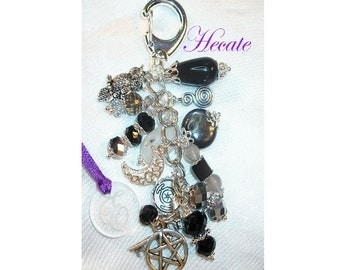 Hecate Charm Clip for Purse /Bag / Jeans / Car - Obsidian/Moonstone