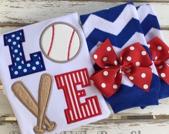 Baseball outfit for baby girls -- bodysuit and leg warmers Baseball Love -- red, royal blue or any colors to MATCH YOUR TEAM