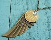 memorial jewelry, sympathy gift, memorial gift, angel wing necklace, loss of loved one, long necklace, feather necklace, boho necklace love