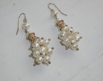 Handmade Freshwater Pearls Cluster Design Earrings on Sterling Silver