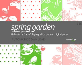 "Botanical scrapbook paper + Digital Paper + Leaves plants + Spring Garden 116 + Pink and green + Paper Pack (12 x 12""- 300 dpi) 8 sheets"