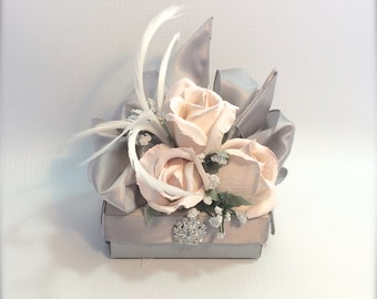 Gift Box Gift Ideas for Her Pink Rose Jewelry Gift Box Pearl Gray Wedding Favor Gift Jewelry Box Elegantly Pre Wrapped and Reuseable