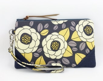 Cell Phone Wristlet Purse, Small Clutch, Zipper Wallet, iPhone Wristlet, Accessory Bag, Padded - Yellow Flower in Gray