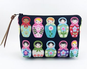 Matryoshka Doll  Zipper Pouch, Accessory Bag, Small Cosmetic Bag, Flat Bottom Pouch, Notions Pouch, Padded Pouch