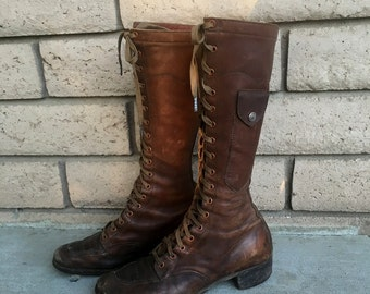 30's Frontier Woman Lace Up Boots