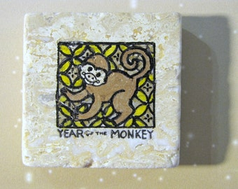 Year of the Monkey...Chinese zodiac star sign..new year natural stone magnet 2x2..cute gift favors gold yellow