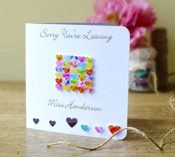 handmade personalised 'sorry you're leaving' card