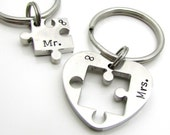 Reserved for Alma - Personalized Couples Keychain Set - Personalized Keychain - Hand Stamped Puzzle Keychain
