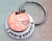 Anniversary Gift - Personalized KeyChain - Penny KeyChain - Hand Stamped Keychain - Years & Counting Keychain - Anniversary Gift For Men