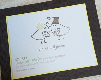 Two Birds Kissing Save the Date