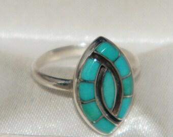 Turqoise 925 Sterling Silver Stamped RL Navajo Ring