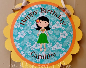 Tropical Luau Personalized Hanging Door Sign  for Birthday and Baby Showers