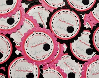 Bowling Themed Tags or Stickers in Pink and Black for Baby showers and birthday parties