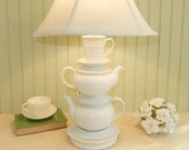 Teapot Lamp, All White Teapots and Tea Cup and Lacy Saucers, Alice in Wonderland Shabby Chic Cottage Nursery