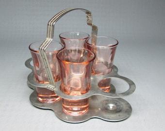 Set of 4 pink glasses in a chrome holder shot glass art deco barware