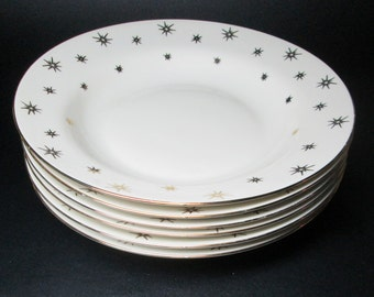 RIEBER Mittereteich Bavaria rim soup bowls , set of six , gold stars / starburst design