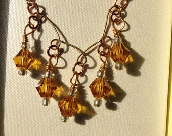 Handmade Wire Wrap and Swarovski Crystal Necklace