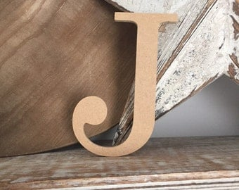 wooden letters, wall letter, not free-standing, unpainted, Roman font, letter J, 15.5cm - READY TO SHIP