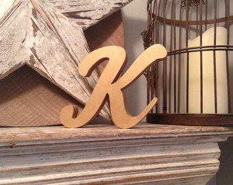 Hand-painted Wooden Letter K - Freestanding - Machiarge Font - Various sizes, finishes and colours - 20cm