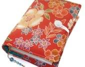 Large Bible Cover, Made to Measure Book Cover, Vintage Silk Kimono, Camellia Cherry Blossom Terra Cotta, UK Seller