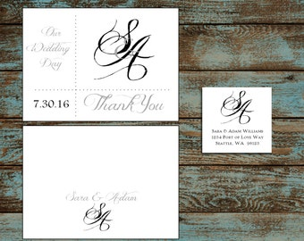 Monogram with Ampersand 100 Wedding Thank You Notes
