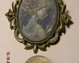 Awesome Pale Blue Cameo Brooch