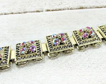 Vintage Pink Rhinestone Bracelet, Pink AB Crystal Bracelet, Gold Square Panel Bracelet, 1950s Costume Jewelry, Valentines Day Gift for Her