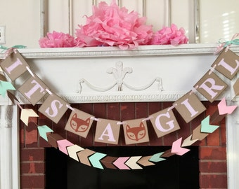 Woodland fox baby shower decorations - tribal baby shower - it's a Girl banner- Girl fox baby shower - your color choices