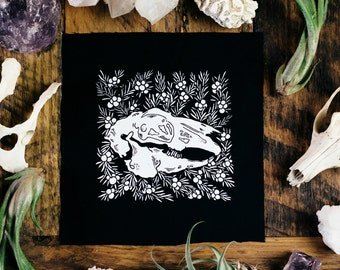 European Hare Skull and Common Juniper Black Sew On Punk Patch