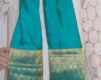 Aqua green/sea green and gold shawl /stole/scarf/dress wrap,Indian  sari stole from India