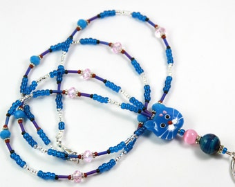OCEAN BLUE CAT - Beaded badge Holder, Beaded Lanyard, Cat Lanyard