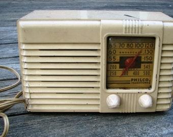 Antique Philco Transitone Tube Radio, 1940 Bakelite Radio, Vintage radio,