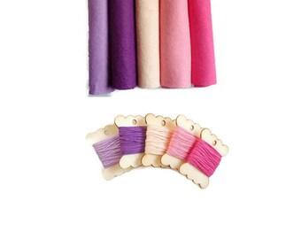 Felt square matching embroidery thread floss felt wool blend wood bobbin felt arts and crafts 12inch uk