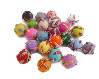 Wool felt pom pom balls handmade 2cm embroidered felt balls 20mm felt craft bead arts and crafts 100%