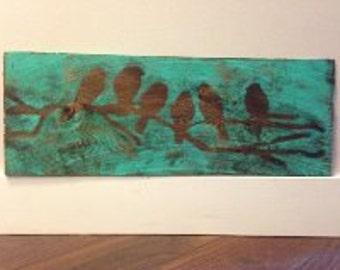 Handmade/painted birds on cedar