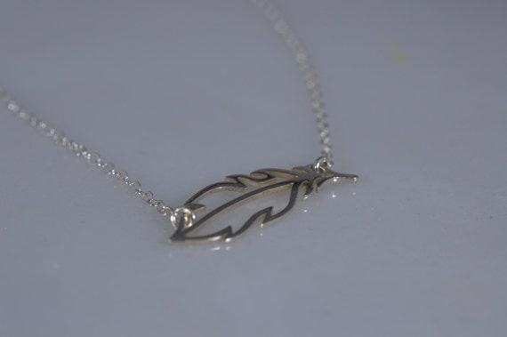 Sterling Silver Feather Necklace - Sideways Feather Necklace