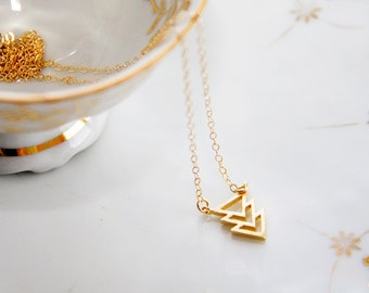 Triple Chevron Necklace Delicate Geometric Necklace Simple Minimalist Jewelry Gold Filled Chain - N316