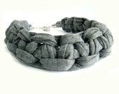 Grey Chunky T-shirt Yarn Macrame Knot Choker Necklace