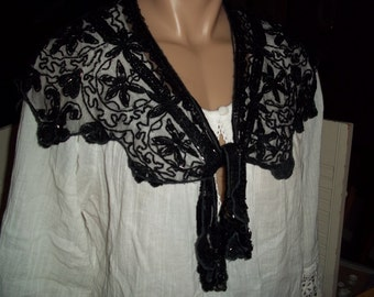Vintage beaded sequins lace hip wrap shawl collar shoulder shrug top dressy black...Reduced..WAS 22.99