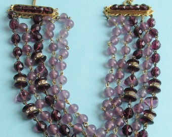 Vintage Freirich Multi-Strand Amethyst & Lavender Glass Collar Necklace