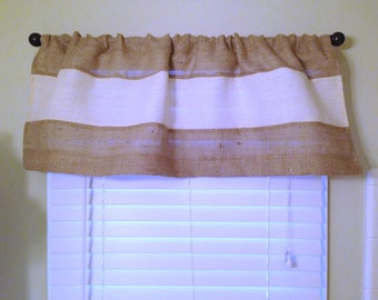 Modern Burlap Valance Rustic Chic Home Decor Burlap Curtain Burlap Window Treatment Coastal Decor Custom Size Available Farmhouse Curtains