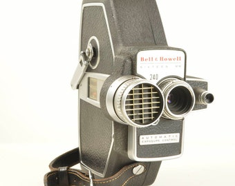 Vintage Bell & Howell 240 16mm Crank Wind Movie Film Camera with Partion Case and Manual BEAUTIFUL