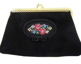 Vintage Small Black Suede Evening Bag Pink Flower Embfoidery