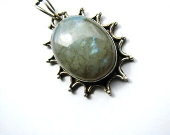 Fiery Blue Flash Labradorite Pendant, Natural Gemstone Pendant, Starburst Design Antiqued Silver Pendant, Affordable Gift Ready To Ship