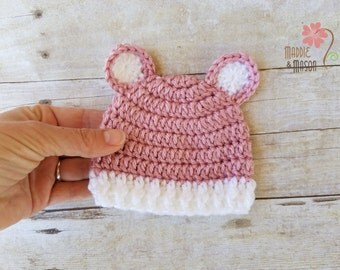 PREEMIE or MICRO Preemie Sweet and Simple Bear Beanie in Soft Rose Pink, Newborn Photography Prop, Pink with White Ears